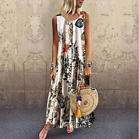 Women's Maxi Shift Dress - Sleeveless Print Strap Loose Blue Blushing Pink Orange S M L XL XXL XXXL XXXXL XXXXXL