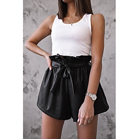 Women's Basic Loose Shorts Pants Solid Colored Black S M L
