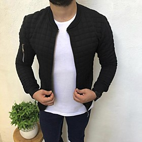 Men's Jacket Short Solid Colored Daily Basic Print Long Sleeve Black Khaki Gray US32 / UK32 / EU40 US34 / UK34 / EU42 US36 / UK36 / EU44 / Work / Slim