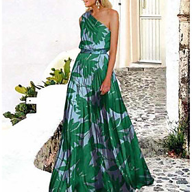 Women's Swing Dress Maxi long Dress - Sleeveless Print Trees / Leaves Spring  Summer One Shoulder Holiday Beach vacation dresses Green Rose Red S M L XL XXL