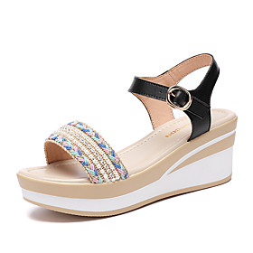 Women's Sandals Wedge Sandals 2020 Spring   Fall / Spring  Summer Wedge Heel Open Toe Casual Minimalism Daily Outdoor PU Black / Beige