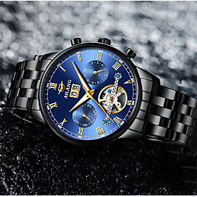 Men's Mechanical Watch Automatic self-winding Fashion Water Resistant / Waterproof Analog Black / Silver BlackGloden WhiteSilver / Stainless Steel / Noctilucen