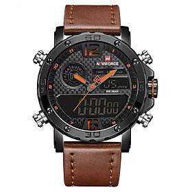 Men's Dress Watch Wrist Watch Digital Watch Quartz Classic Water Resistant / Waterproof Analog - Digital Black / Yellow Black Black / Red / Leather / LCD
