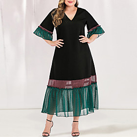 Women's A-Line Dress Maxi long Dress - Short Sleeve Blue  White Black  Red Color Block Solid Color Pleated Patchwork V Neck Plus Size Casual Elegant Flare Cuff