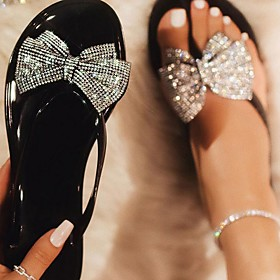 Women's Sandals Flat Sandal Summer Flat Heel Open Toe Daily PU Clear / Black / Pink