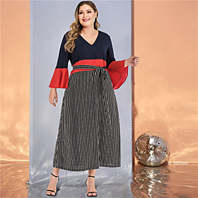 Women's A-Line Dress Maxi long Dress - Long Sleeve Striped Color Block Solid Color Patchwork Spring  Summer Fall  Winter V Neck Plus Size Casual Streetwear Goi