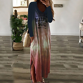 Women's A-Line Dress Maxi long Dress - Long Sleeve Color Block V Neck Purple Yellow Orange Light Blue S M L XL XXL