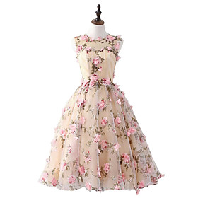 A-Line Floral Pink Homecoming Cocktail Party Dress Jewel Neck Sleeveless Short / Mini Satin with Appliques 2020