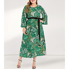 Women's A-Line Dress Maxi long Dress - Long Sleeve Floral Pleated Patchwork Spring  Summer Fall  Winter Plus Size Casual Boho Going out Flare Cuff Sleeve Green