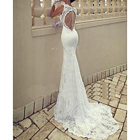 Mermaid / Trumpet Wedding Dresses Scoop Neck Sweep / Brush Train Lace Taffeta Chiffon Over Satin Sleeveless Sexy Plus Size with Lace Draping 2020