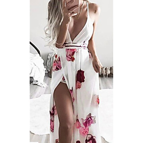 Women's Sheath Dress Maxi long Dress - Sleeveless Print Halter Neck White S M L XL XXL