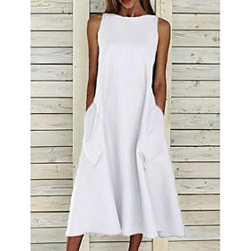 Women's A-Line Dress Midi Dress - Sleeveless Pocket Summer Basic Holiday White Blue Yellow Gray S M L XL XXL