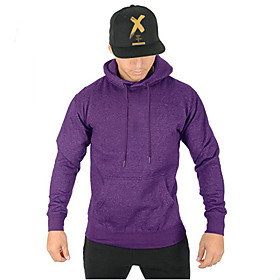 Men's Hoodie Solid Colored Hooded Sports  Outdoors Basic Hoodies Sweatshirts  Slim Black Blue Purple