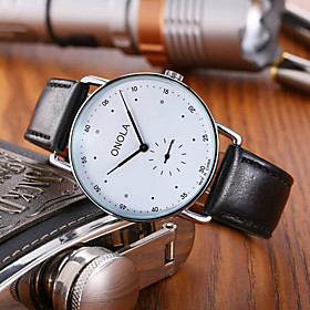 Men's Dress Watch Quartz Casual Water Resistant / Waterproof Analog Black Blue Red / One Year / Genuine Leather / Genuine Leather