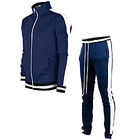 Men's Activewear Set Solid Colored Sports  Outdoors Basic Hoodies Sweatshirts  Slim White Black Blue