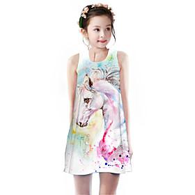 Kids Girls' Basic Cute Unicorn Rainbow Animal Cartoon Print Sleeveless Knee-length Dress Rainbow
