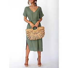 Women's A-Line Dress Midi Dress - Short Sleeve Solid Color Summer V Neck Streetwear 2020 Black Blushing Pink Green S M L XL