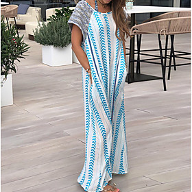 Women's Maxi Shift Dress - Short Sleeves Print Elegant Loose Blue S M L XL