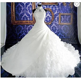 Ball Gown Wedding Dresses Halter Neck Court Train Organza Sleeveless Sexy Wedding Dress in Color with Appliques 2020