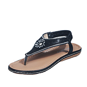Women's Sandals Flat Sandal 2020 Spring   Fall / Spring  Summer Flat Heel Open Toe Sexy Sweet Daily Beach PU Black / Gold
