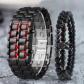 Men's Digital Watch Digital Modern Style Stylish Classic LCD Digital RedSilver Black Red / One Year / Stainless Steel