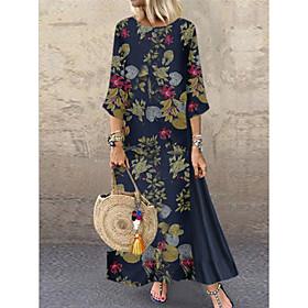 Women's Maxi Shift Dress - 3/4 Length Sleeve Color Block Loose White Navy Blue Beige S M L XL XXL XXXL XXXXL XXXXXL