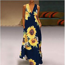 Women's Maxi Shift Dress - Sleeveless Print V Neck Wine White Black Green Navy Blue S L XL XXL XXXL XXXXL XXXXXL