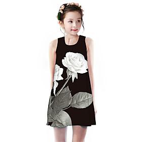 Kids Girls' Basic Cute Rose Plants Floral Animal Print Sleeveless Knee-length Dress Black