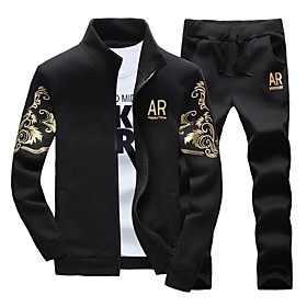 Men's 2-Piece Full Zip Tracksuit Sweatsuit Jogging Suit 2pcs Winter Front Zipper Stand Running Active Training Fitness Thermal / Warm Breathable Moisture Wicki