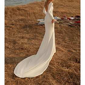 Mermaid / Trumpet Wedding Dresses Off Shoulder Court Train Chiffon Over Satin Long Sleeve Country Plus Size with Buttons 2020