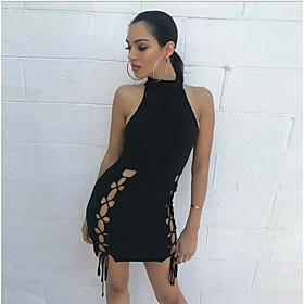 Women's Mini Bodycon Dress - Long Sleeve Solid Color Halter Neck Slim Black S M L