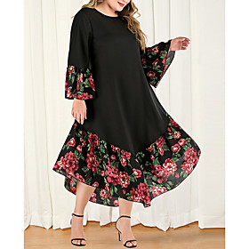 Women's Plus Size Maxi A Line Dress - Long Sleeve Floral Color Block Solid Color Patchwork Casual Boho Daily Going out Flare Cuff Sleeve Belt Not Included Loos