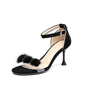 Women's Sandals Stiletto Heel Open Toe Pom-pom Suede Classic / Minimalism Spring  Summer Almond / Pink / Black / Party  Evening