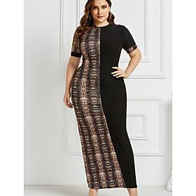 Women's Sheath Dress Maxi long Dress - Short Sleeve Color Block Black Khaki Brown Gray XXL 3XL 4XL 5XL