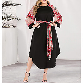Women's A-Line Dress Knee Length Dress - Long Sleeve Color Block Solid Color Print Spring  Summer Fall  Winter Plus Size Casual Boho Going out Blushing Pink L