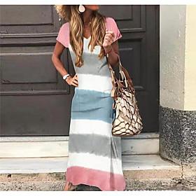 Women's Maxi Sheath Dress - Short Sleeves Color Block V Neck Green Light Blue S M L XL XXL XXXL XXXXL XXXXXL