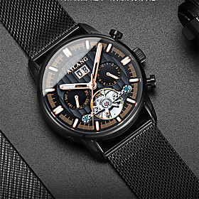 Men's Mechanical Watch Automatic self-winding Tourbillion Fashion Water Resistant / Waterproof Analog Black / Silver BlackGloden WhiteGolden / One Year / Titan