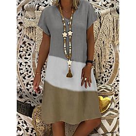 Women's A-Line Dress Knee Length Dress - Short Sleeve Color Block Summer V Neck Plus Size Casual 2020 Black Red Gray S M L XL XXL 3XL 4XL 5XL