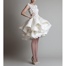 Ball Gown Floral White Homecoming Cocktail Party Dress Jewel Neck Sleeveless Short / Mini Organza with Tier Appliques 2020