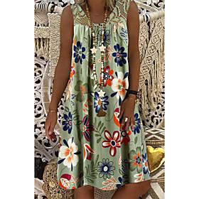 Women's Plus Size Shift Dress Knee Length Dress - Sleeveless Floral Lace Print Summer Mumu Vacation Beach 2020 White Black Army Green Fuchsia Navy Blue S M L X