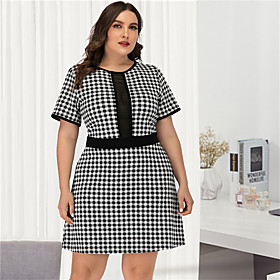 Women's A-Line Dress Short Mini Dress - Short Sleeve Black  White Check Mesh Patchwork Plus Size Sexy Streetwear Going out Black L XL XXL 3XL 4XL