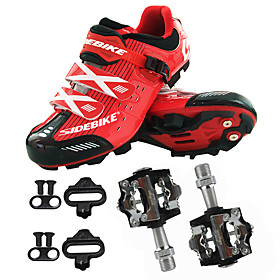 Men's Cycling Shoes With Pedals  Cleats Mountain Bike Shoes Nylon, Fiberglass, Air-flow vents, Non-Slip tread Mountain Bike / MTB Road Cycling Wearable Synthet