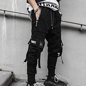 Men's Basic Loose Jogger Pants Solid Colored Black US32 / UK32 / EU40 US34 / UK34 / EU42 US36 / UK36 / EU44