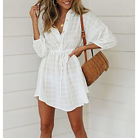 Women's A Line Dress - 3/4 Length Sleeve Solid Color Summer V Neck Street chic 2020 White S M L XL