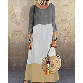 Women's Maxi Shift Dress - 3/4 Length Sleeve Color Block V Neck Loose Black Red Yellow Gray S M L XL XXL XXXL XXXXL XXXXXL