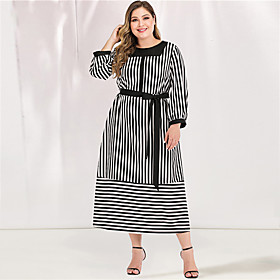 Women's A-Line Dress Maxi long Dress - Long Sleeve Striped Lace up Spring  Summer Fall  Winter Plus Size Casual Elegant Going out Loose Black L XL