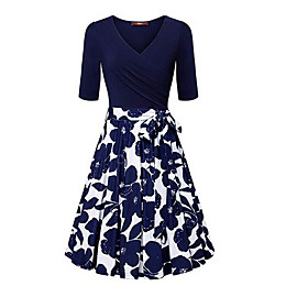 Women's Sheath Dress - Short Sleeves Solid Color V Neck White Blue Red S M L XL XXL