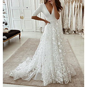 A-Line Wedding Dresses Plunging Neck Sweep / Brush Train Tulle Polyester Half Sleeve Country Plus Size with Embroidery Appliques 2020