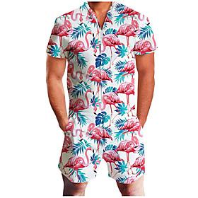 Men's Basic Zipper Front V Neck White Red Green Romper 3D Flamingo Floral Print Print / Short Sleeve / Spring / Summer