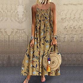 Women's Maxi Loose Dress - Sleeveless Floral Strap Loose Blue Yellow Blushing Pink Green Navy Blue M L XL XXL XXXL XXXXL XXXXXL